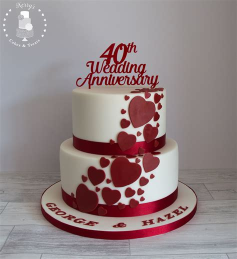 Wedding Cake Anniversary by 40th Ruby Wedding Anniversary Cake White With Ruby