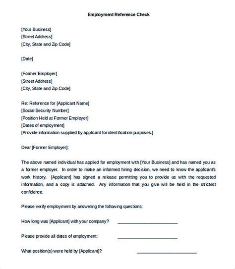 Business Reference Check Letter understanding professional letter format