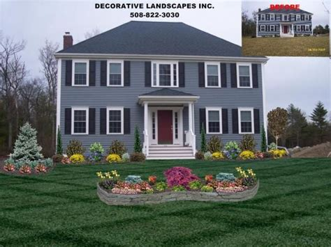 design form home colonial home front yard landscape design attleboro ma