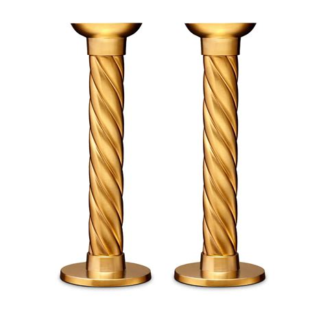 candlestick l l objet gold carrousel candlesticks large set of 2