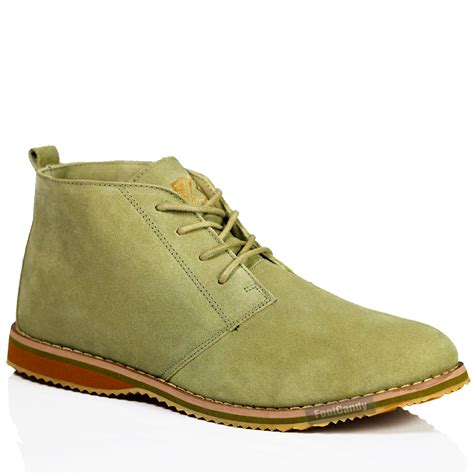 flat suede shoes mens casual desert chukka mid lace up ankle flat leather