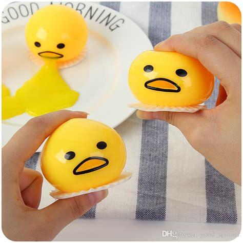 Lazy Gudetama Vomiting Slime In Plastic Package 2018 lazy balls vomiting egg novelty magic tricky slime toys pinching toys vomit egg creative