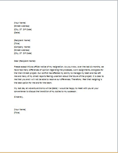letter of resignation due to conflict with boss office templates