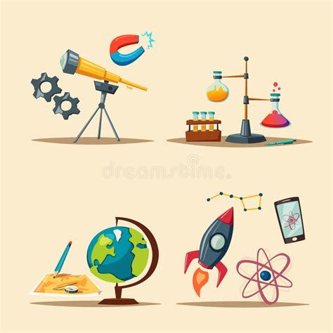 education theme pictures set of science logo cartoon vector illustration