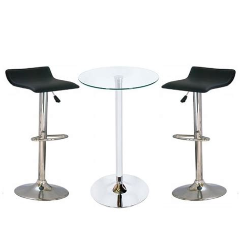 Glass Bar Table And Stools Bente Glass Bar Table With 2 Stratos Black Bar Stools 33137