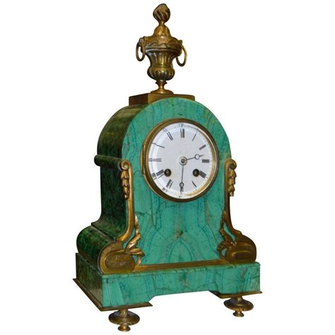 jugendstil standuhr nouveau mantel clock in malachite for sale at 1stdibs