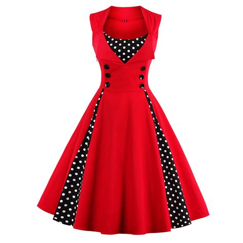 Vintage Dress Hq 2 5xl new 50s 60s retro vintage dress polka dot patchwork sleeveless summer dress