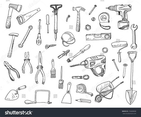 sign and doodle vector illustration set construction stock