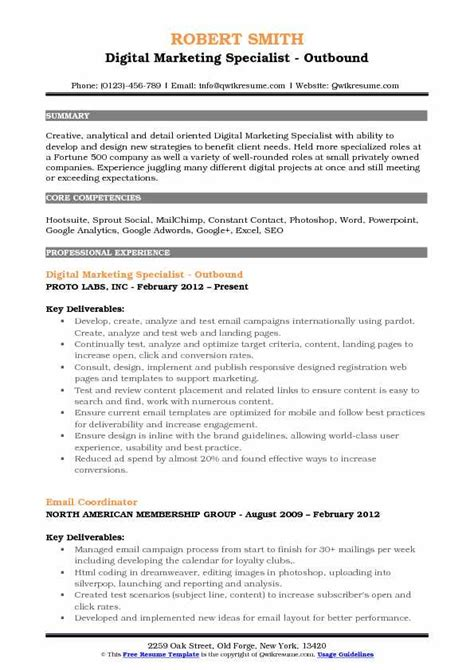 Digital Marketing Specialist Sle Resume by Digital Marketing Specialist Resume Template 28 Images Digital Marketing Specialist Resume