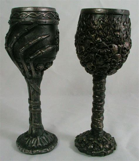 skull barware skull skeleton goblet pair wine glass cup mug resin new halloween gothic bones