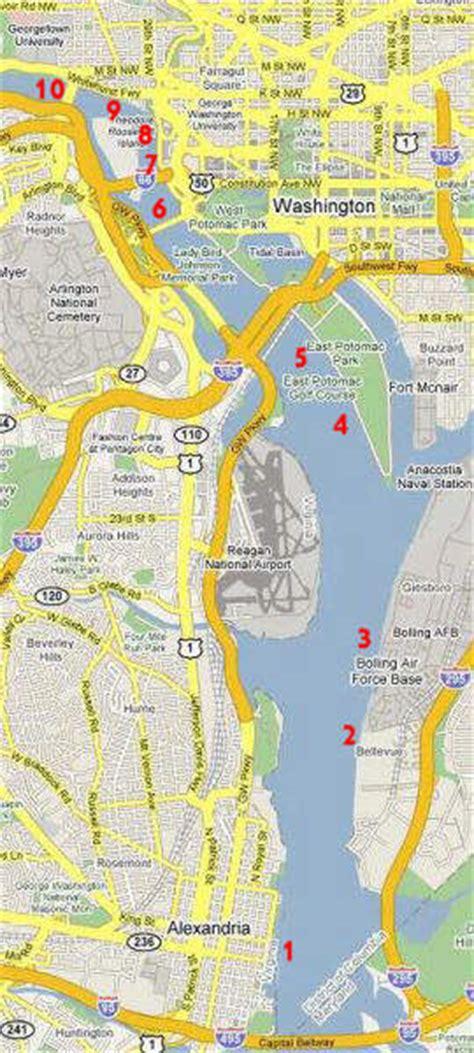 washington dc rivers map navigating the potomac river in washington d c