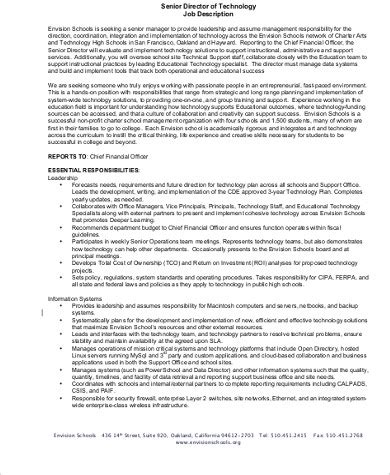 senior director job description sle 9 exles in pdf