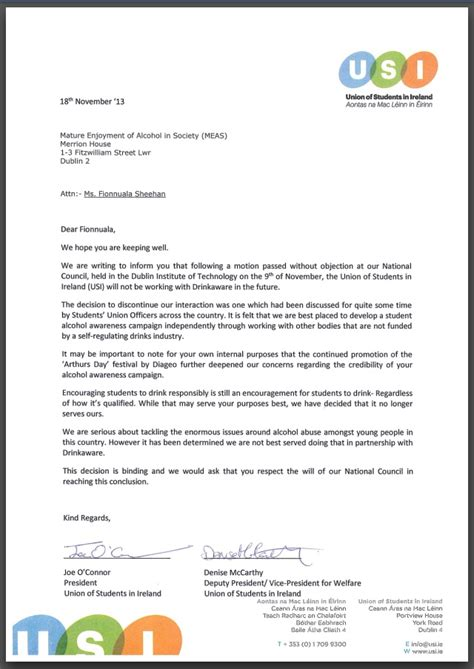 Support Letter For Business Partner Usi Ends Partnership With Drinkaware Opting For Independent Awareness Caigns Union