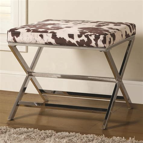 cow print ottoman 500118 cow print ottoman with chrome base from coaster