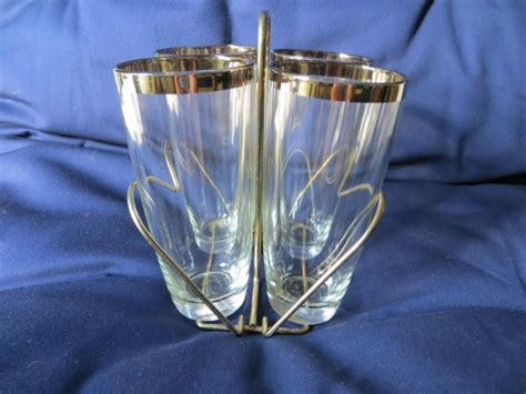 mad men barware set of four tall vintage dorothy thorpe style mad men