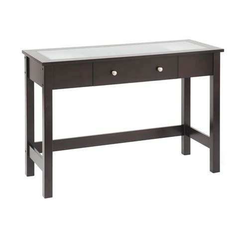 bay shore collection sofa console table with glass insert