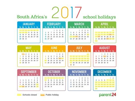 C2017 Calendar Printable 2017 School Holidays In South Africa Calendar