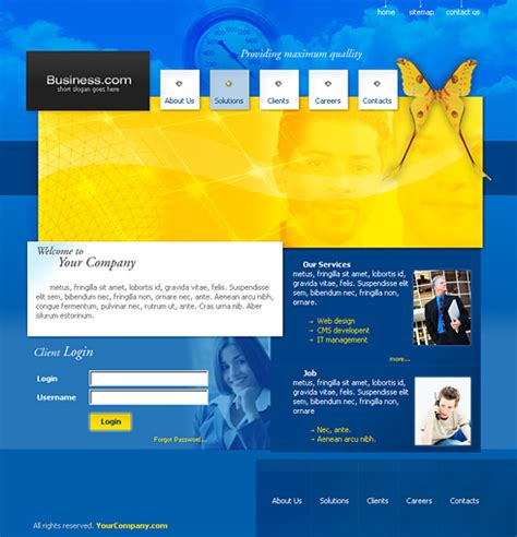 free website templates for yellow pages butterfly web template 0153 business website
