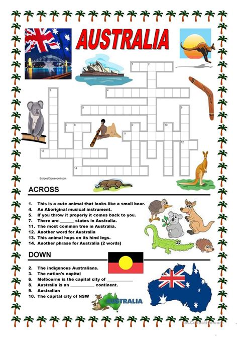 australia new zealand quiz worksheet free esl australia crossword 1 worksheet free esl printable