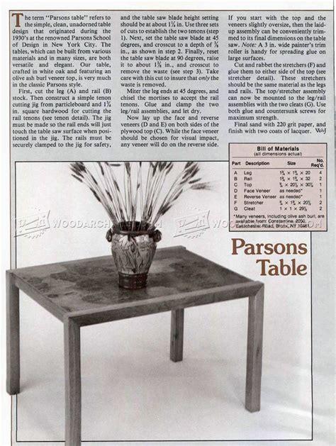 parsons bench plans parsons table plans woodarchivist