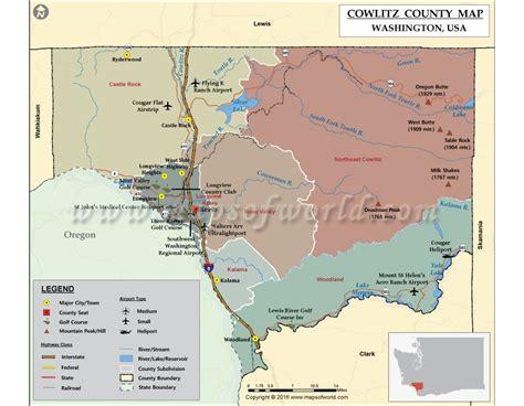 Cowlitz County Search Buy Cowlitz County Map Washington