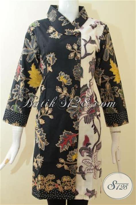Baju Hitam Kombinasi Batik baju batik hitam kombinasi putih berpadu dengan dua motif berbeda pas buat seragam kantor baju