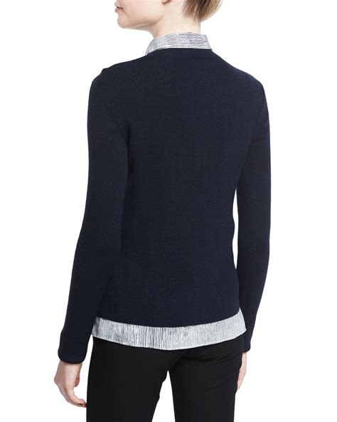 Baverly Blue Longsleeve J5qd joseph sleeve sweater w striped blouse combo in black lyst
