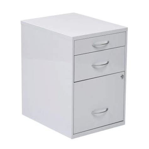 ospdesigns 22 in 3 drawer metal file cabinet in white