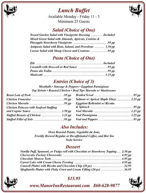 Lunch Buffet Southington Manor Inn Lunch Buffet Menus