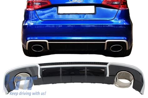 Audi Rs3 Diffuser by Rear Bumper Valance Diffuser Exhaust Tips Audi A3 8v