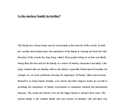 Nuclear Family Essay by Is The Nuclear Family In Decline A Level Sociology Marked By Teachers