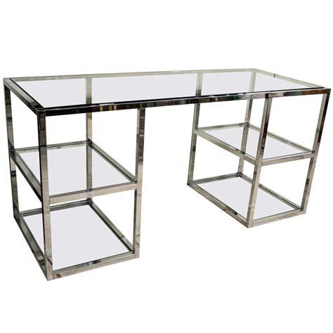 glass and chrome desk chrome and glass four shelf desk at 1stdibs