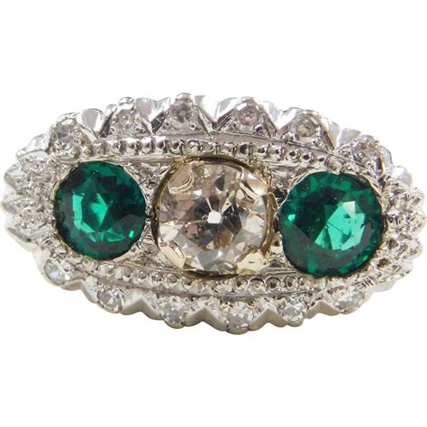 vintage 1 ct mine cut faux emerald ring