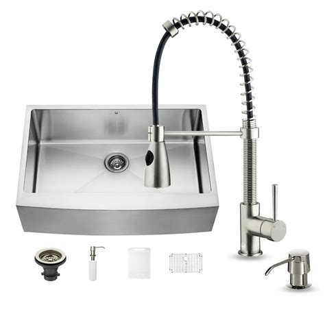 Home Depot Farmhouse Sink by Vigo All In One Farmhouse Apron Front Stainless Steel 33