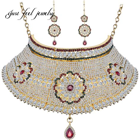 Set Perhiasan Gold 1 2017 india jewelry sets gold color sunflower necklace choker 2pcs bridal wedding