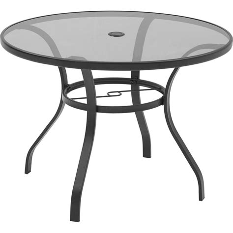 Hton Bay Mix And Match Round Metal Outdoor Dining Table Glass Replacement Patio Table