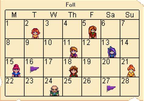 Fall Calendar Calendar Stardew Valley Wiki