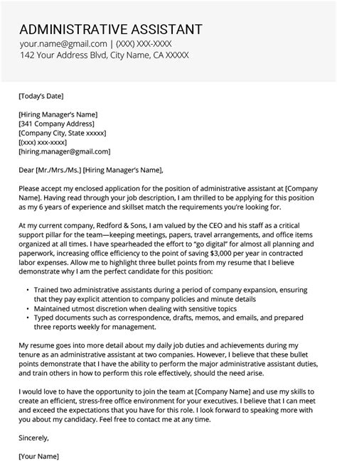 administrative assistant cover letter tips