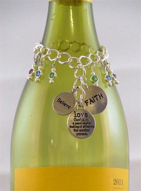 wine bottle charm positive thoughts
