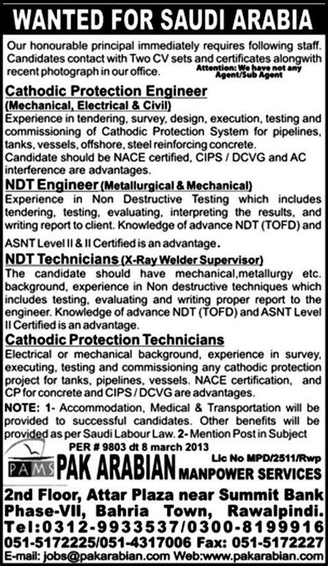 Engineers & Technicians Jobs in Saudi Arabia through Pak