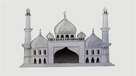 Mosque Drawing by How To Draw Mosque Step By Step