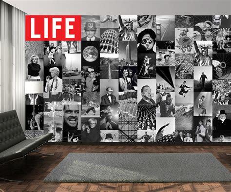 fotos auf tapete kleben collage magazin icons foto tapete 64 teilig foto