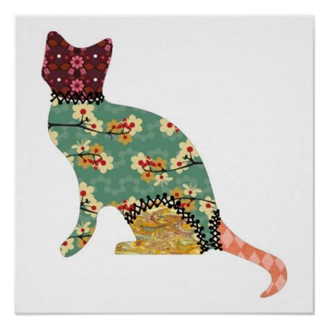 The Patchwork Cat - cat patchwork pet print zazzle