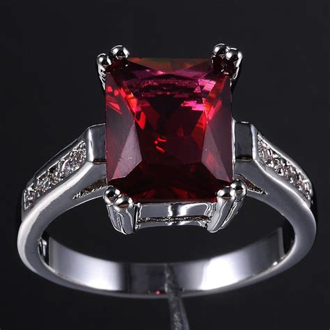 Cincin Unisex Size 8 Ruby 10kt White Gold Filled size 6 9 jewelry ladys cz solitaire 10kt white