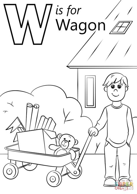 letter w is for wagon coloring page free printable