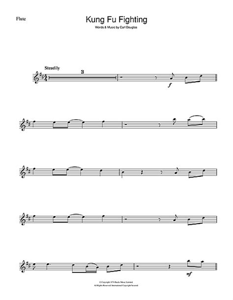 printable lyrics to kung fu fighting kung fu fighting sheet music by carl douglas flute 101369