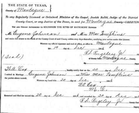 Tompkins County Marriage Records Montague County Surnames