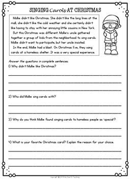 grade 2 reading comprehension christmas reading comprehension passages and questions by isla hearts teaching