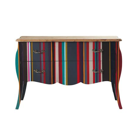 Striped Chest Of Drawers by Wooden Striped Chest Of Drawers Multicoloured W 120cm