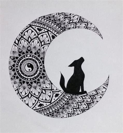 imagenes en blanco y negro de la luna lobo original en blanco y negro de luna mandala ilustraci 243 n